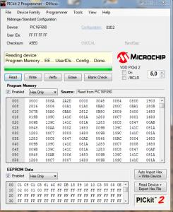 Afbeelding 2 Screenshot van de PICkit 2 software na het uitlezen van een PIC 16F690