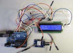 Experimentele opstelling van de GPS Display Unit met de NEO GPS-module